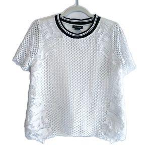 Trouve White Black Crochet Lace Eyelet Top S